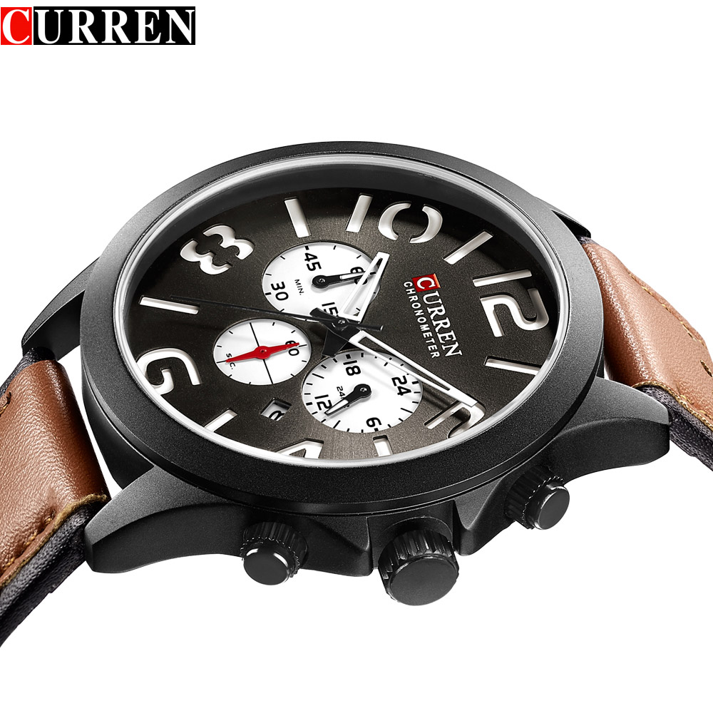Genuine CURREN quartz male watches Genuine Leather watches racing men Students game Run Chronograph Watch male glow hands genuine jedir quartz male watches genuine leather watches racing men students game run chronograph watch male glow hands