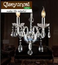 Qiseyuncai светодиодный лампы в форме свечи K9 с украшением в виде кристаллов бра простой современный 1 или 2 головки прозрачный хрустальный настенный светильник