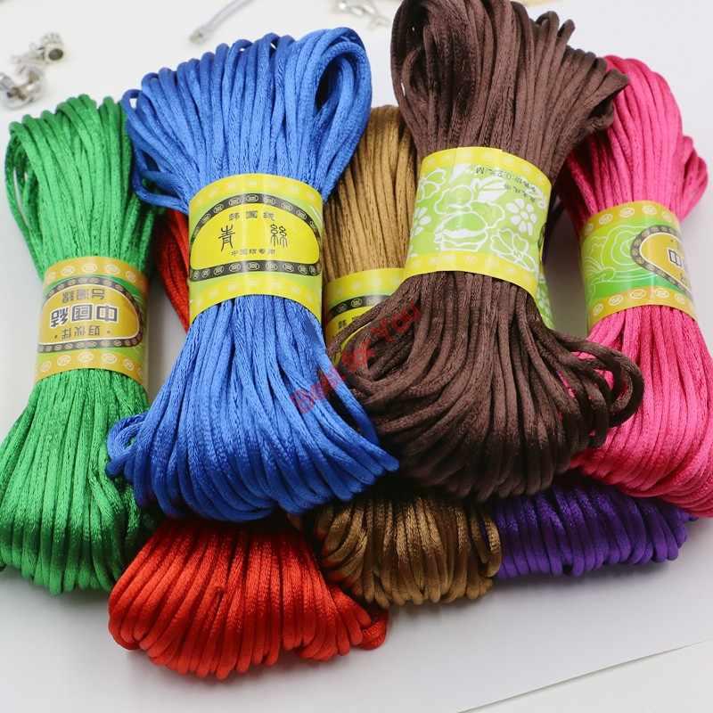 15 Yards ROSE Rattail Nylon Silk Chinese Knot Shamballa Macrame Knotting Diy Beading String Cording 2 mm more colors 2mm SATIN Nylon Cord