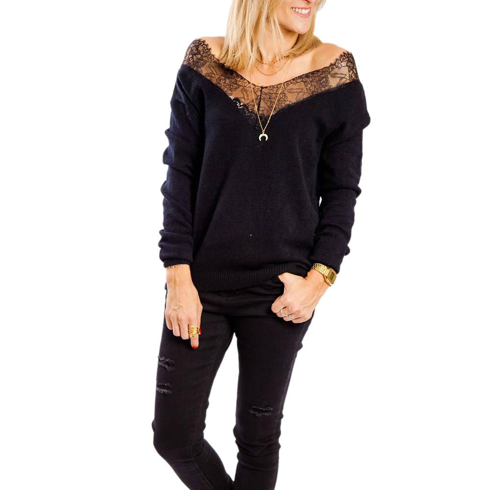 Women Sexy Off Shoulder Lace Patchwork V Neck Solid Color Long Sleeve Sweater