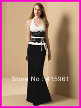 Sexy Black And White Halter Lace Satin Long Bridesmaid Dresses Gown Sash B604