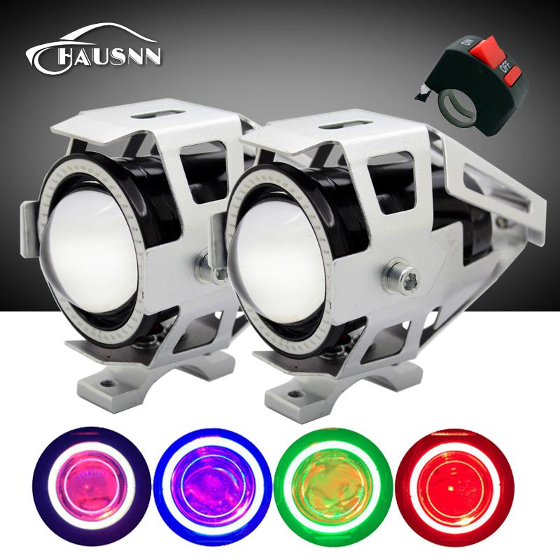 Prix pour 2 pcs avec Interrupteur Étanche 125 W Cree Puce U7 LED Voiture Moto phare Brouillard Lumière Spot Light Lampe 4 Couleurs Angle Eye Lumière