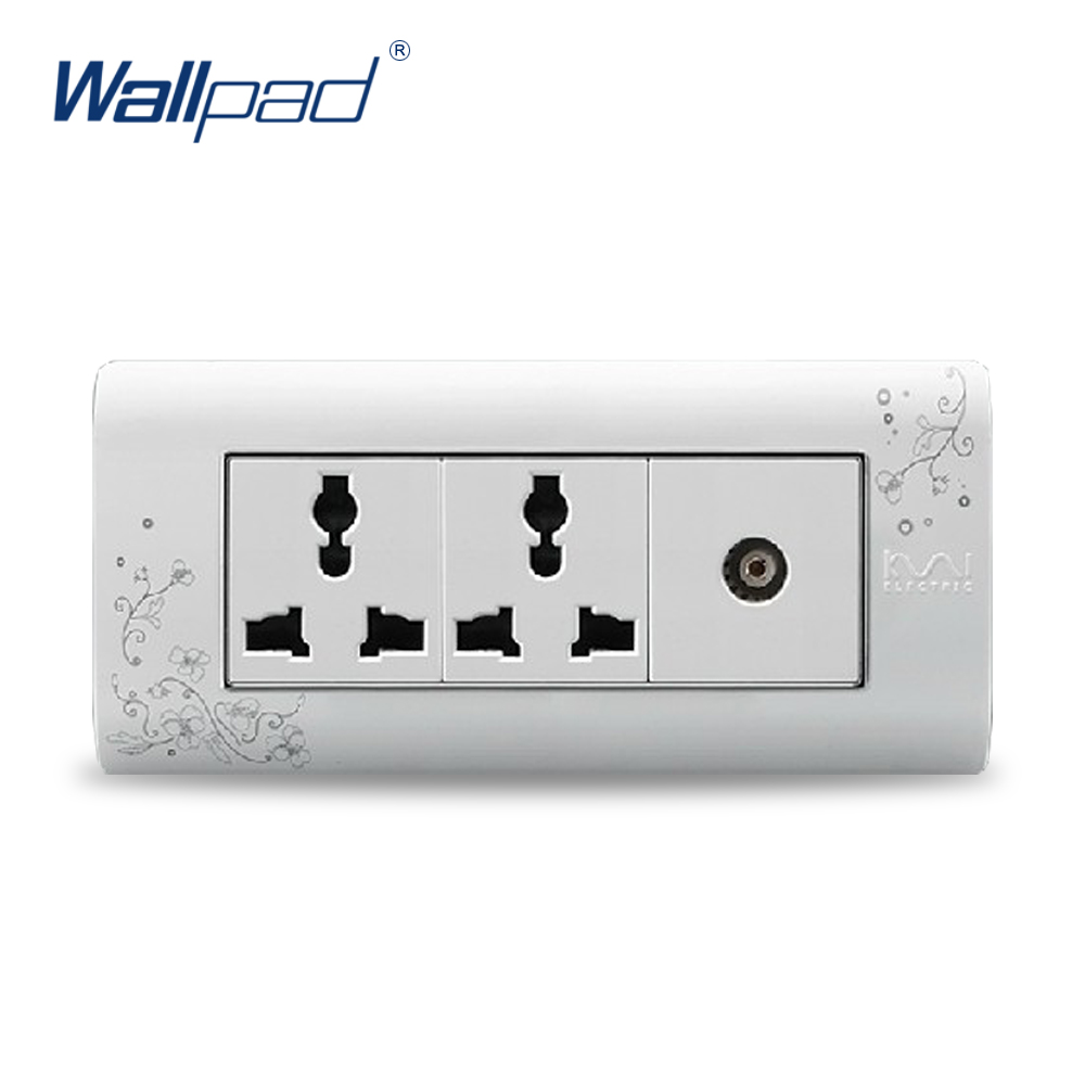 2017 Hot Sale TV 6 Pin Socket Wallpad Luxury Wall Switch Panel Outlet Socket 154*72mm 10A 110~250V free shipping wallpad luxury wall switch panel 6 gang 2 way switch plug socket 197 72mm 10a 110 250v