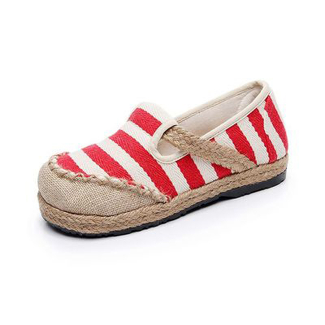 Sandalias Mujer Real Hemp 2019 New Old Beijing Shoes Spring Mouth Round Foot Pedal Lazy Stripes National Wind Student Female 36