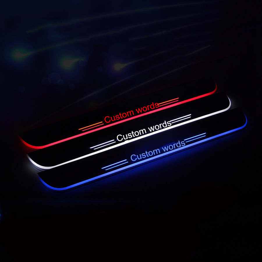 custom made  acrylic  LED light  door sill scuff plate threshold sticker accessories  for 2013 2014 2015 dodge dart for mitsubishi lancer 2008 2011 custom car styling led door sill scuff plate threshold light