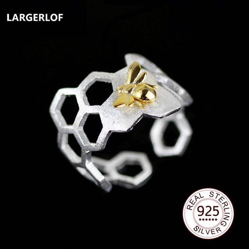 LARGERLOF Real 925 Sterling Silver Ring Women Handmade Fine Jewelry Hollow Bee Rings For Women RG45006
