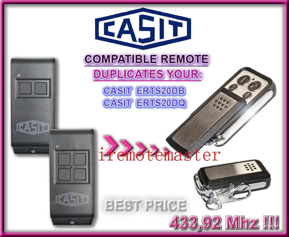 CASIT ERTS20DB,ERTS20DQ replacement remote control duplicator clone