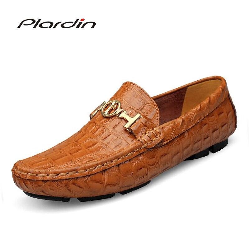 Herrenschuhe Schuhe Plardin Plus Größe Marke Mode Stil Weichen Mokassins Männer Faulenzer Hohe Qualität Metall Dekoration Aus Echtem Leder Schuhe Männer Wohnungen Einen Effekt In Richtung Klare Sicht Erzeugen