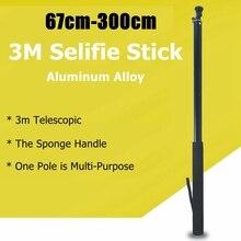 3m אלומיניום סגסוגת Selfie מקל מוט חדרגל לgopro גיבור 8 7 6 5 מקסימום SJCAM DJI פעולה Insta360 אחד R X פנורמי אבזרים