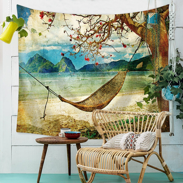 Lannidaa Summer Beach View Tropical Plants Tapestry Wall Hanging Printed Beauty Home Decor Towel Throw