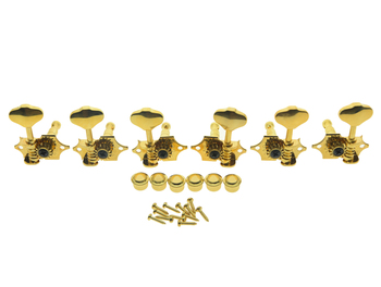 Dopro Grover Set of 6 Sta-Tite 97 Series V97G Guitar Tuners 3x3 Guitar Tuning Keys 14:1 Guitar Machine Heads Gold image