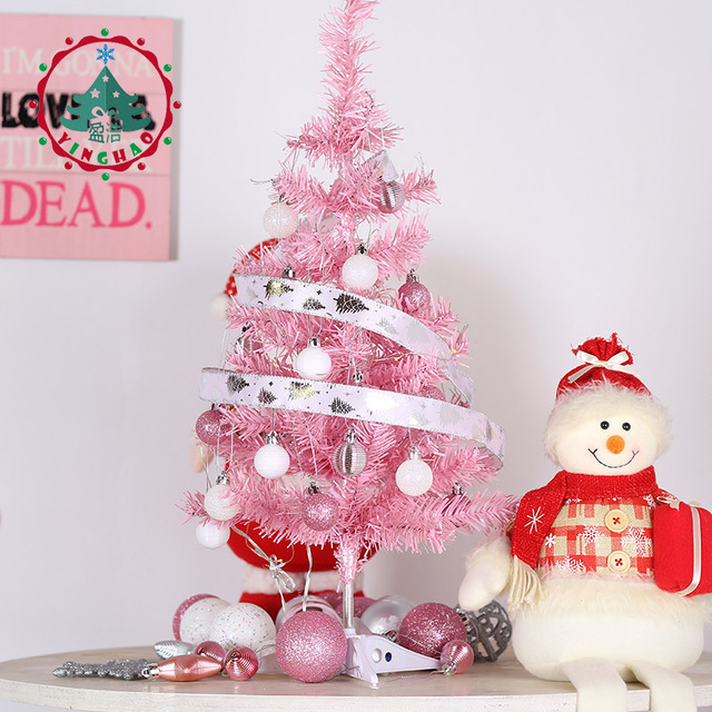 Inhoo 60cm Mini Pink Artificial Christmas Tree Decor Small Xmas For Home Ornaments Desktop Decorations Wedding 2019