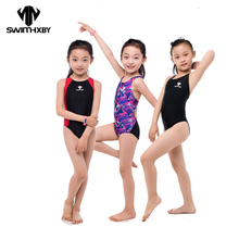 HXBY Kids Swimwear Girl Swimsuit Women 2017 One Piece Swimwear Professional Swimming Suits Bathing Suit Girls Swimwear Women cheap One Pieces Patchwork spandex NYLON Fits true to size take your normal size NoEnName_Null 2XS-5XL Black red yellow blue
