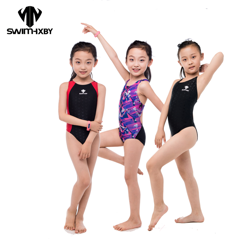 HXBY Kids Swimwear Girl Swimsuit Women 2017 One Piece Swimwear Professional Swimming Suits Bathing Suit Girls Swimwear Women 1 8 years old kids swimsuit for girls lovely yellow duck bathing suit children swimsuit princess one piece swimwear swimming cap