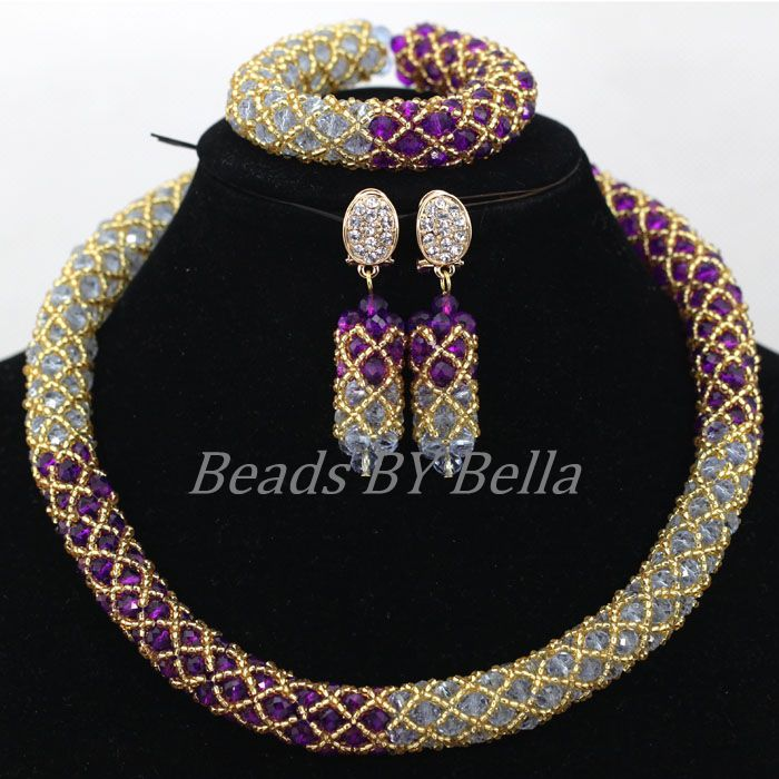 Online Shop Wholesale Purple Gold Crystal African Choker Necklace ...