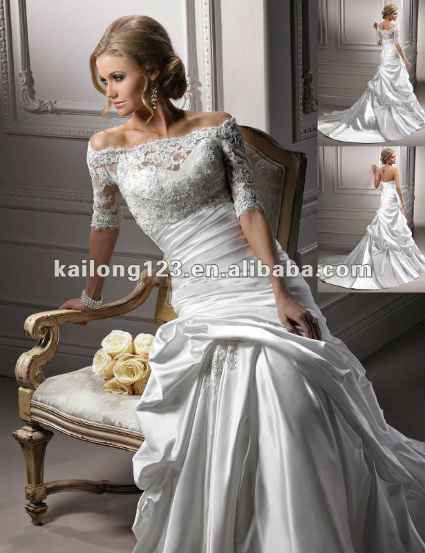 Buy elegant trumpet floor length chapel for Wedding dresses with three quarter length sleeves