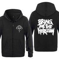 Bring Me The Horizon Rock Band Hoodies Men 2018 Men's Fleece Zipper Cardigans Hooded Sweatshirts