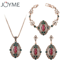 3Pcs/set Turkey Red Green Jewelry Sets Vintage Look Luxury Necklace Earrings Set Plating Antique Gold Unique Crystal For Women