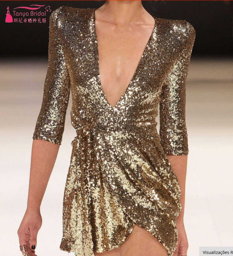Deep V Neck Half Sleeves Gold Sequins   Cocktail     Dresses   Short Mini Fashion Sexy Party   Dresses   Gown DQG624