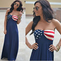 New American bandeira nacional Maxi vestido Fourth of July o 4º Mura Maui lírio rosa Boutique 467