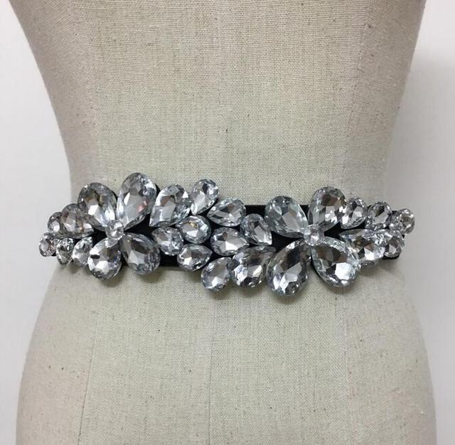 New Fashion Accessories Elegant Rhinestone Belts Decoration Black Womens  Strap Waistband Cummerbund Thin Elastic Waist Belts e0c788c88950