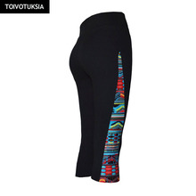 TOIVOTUKSIA Running Tights Women Fitness Capris Leggings Workout Women Cropped Leggins Stretched Pants