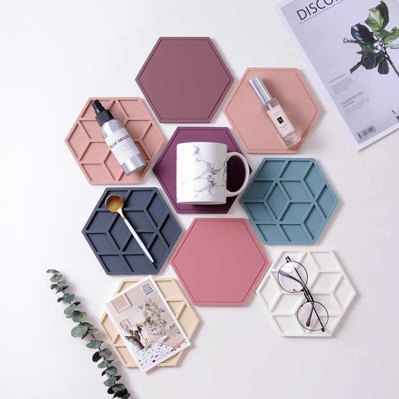 Creative Silicone Coasters Anti Slip Heat-insulated Cup Mats Chic Hexagon Hollow Cups Mugs Pad INS Home Decoration 1pc
