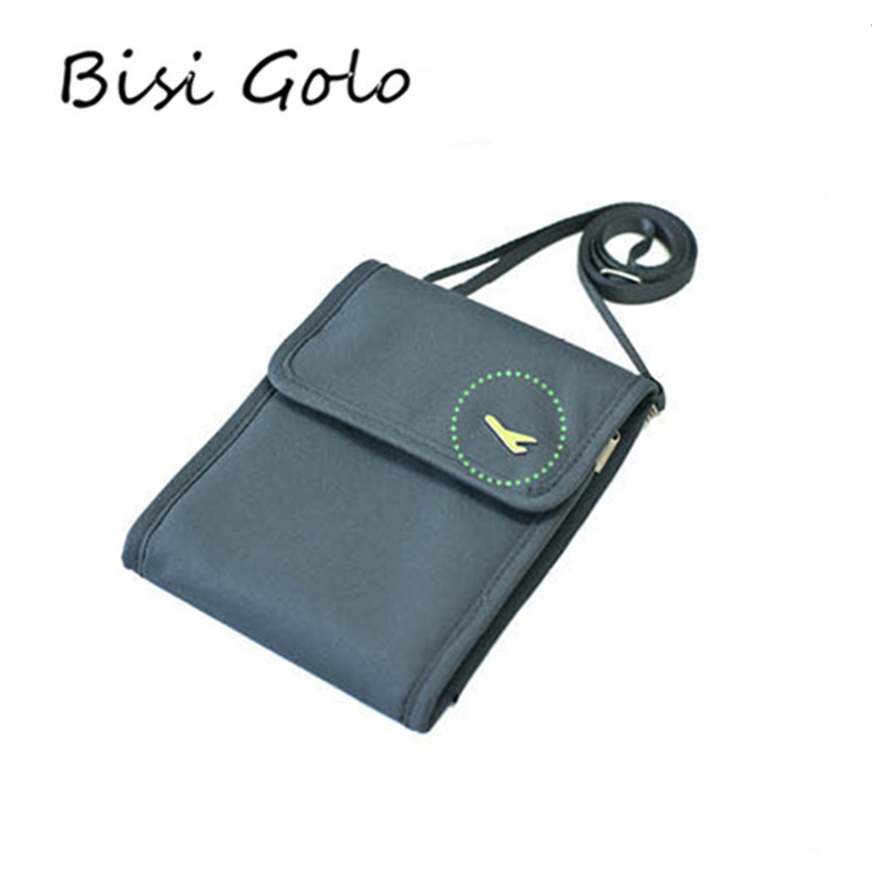 BISI GORO 2019 New Credit Card Holder Travel Passport Cover Wallets Multifunction Canvas Purses ID Holder Neck Hanging Money Bag