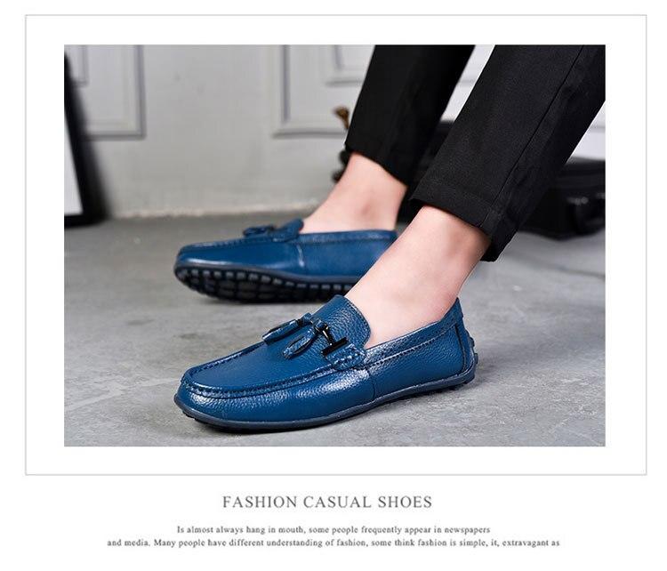 6673168997 Moda Real de Couro Sapatos Casuais Preguiçosos Homens Sapatos ...