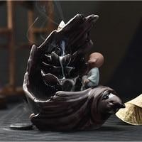 PINNY Ceramic Buddha Incense Holder Listen Zen Smoke Backflow Censer Buddhist Temple Supplies Incense Burner Free Shipping