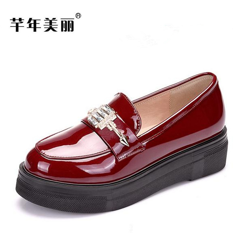 Large size Women shoes Flats 2017 autumn new Platform shoes fashion thick bottom Loafers obuv zapatos 2017 new spring female flat heels martin shoes bullock shoes female thick bottom loafers large size women shoes obuv ayakkab