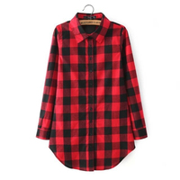 2015 New Hot Classic Vintage Red Black Plaid Blouse Women Tops Lapel Foldable Sleeve Camisas Femininas