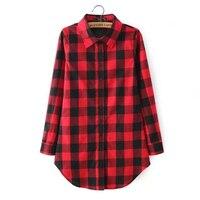 2015 New Hot Classic Vintage Red Black Plaid Blouse Women Tops Lapel Foldable Sleeve Camisas Femininas