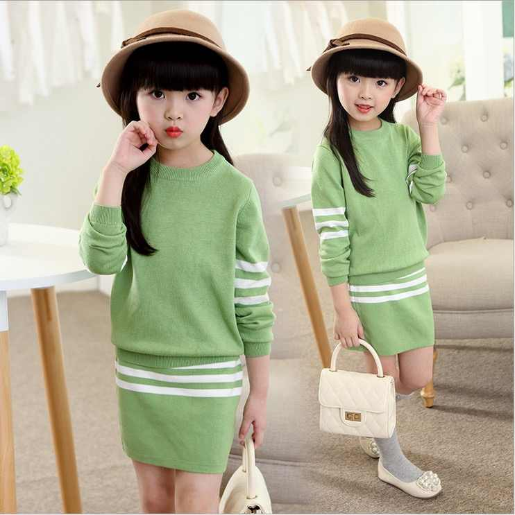 fff9b7d34a81 ... sweaters+skirt 2 pieces clothing set size 8 9 10 years old autumn  winter fashion