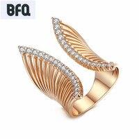 BFQ 2017 fashion spezielle kupfer öffnung ringe AAA zirkonia rose gold großen übertrieben partei frauen ring schmuck bague anel