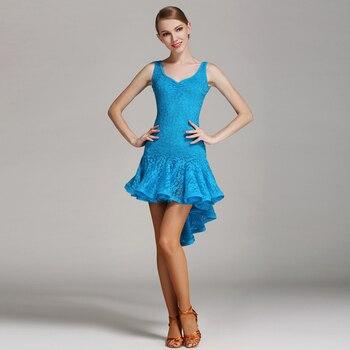 S8022 Latin Dance Costume Rumba Samba Cha Cha Dancing Dress Women Lady Adult Ballroom Costume Evening Party Dress