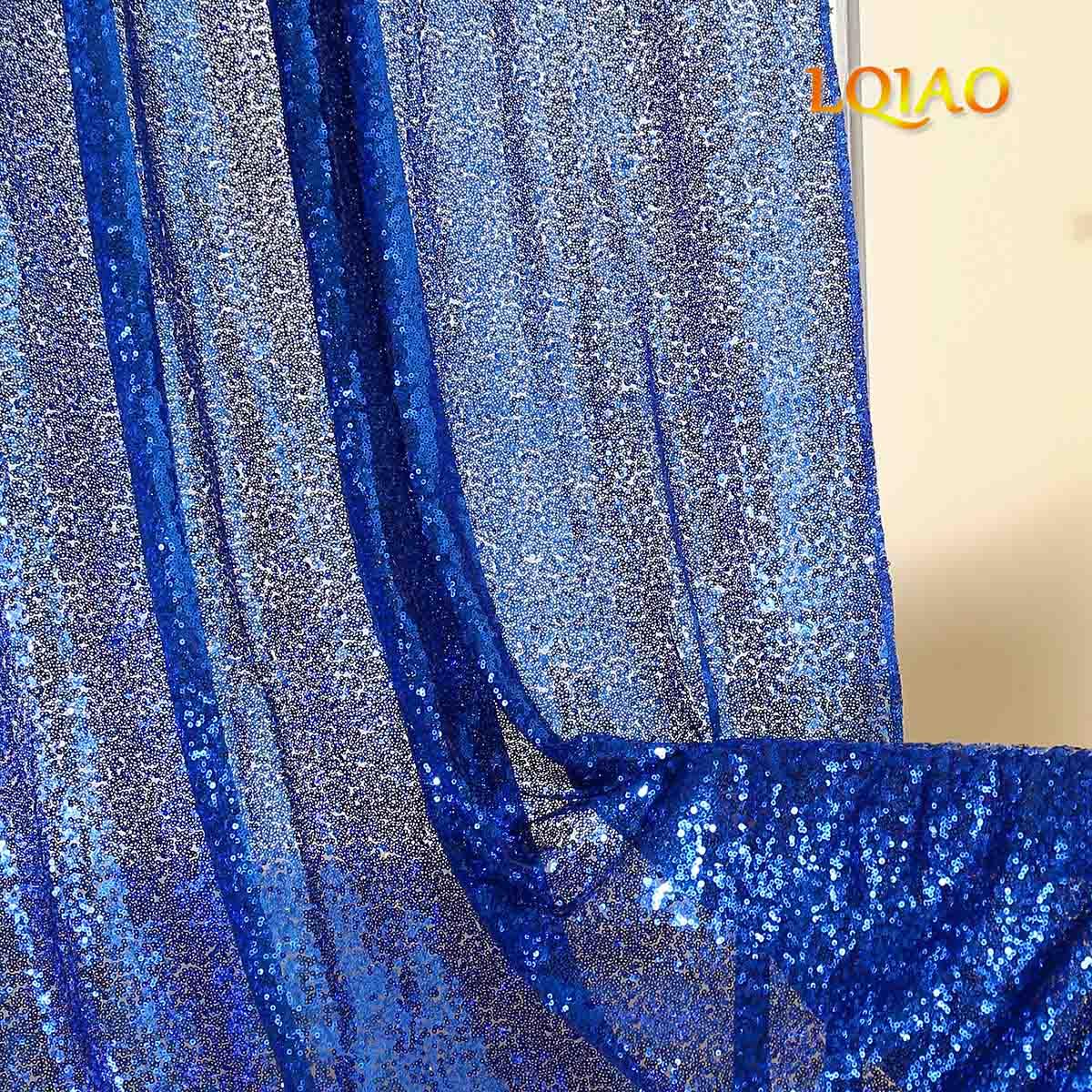 2019 date Sequin rideau 2 Pack brillant bleu royal sequin toile de fond Photo rideaux pour fête/mariage/chambre décoration de la maison-in Rideaux from Maison & Animalerie    3