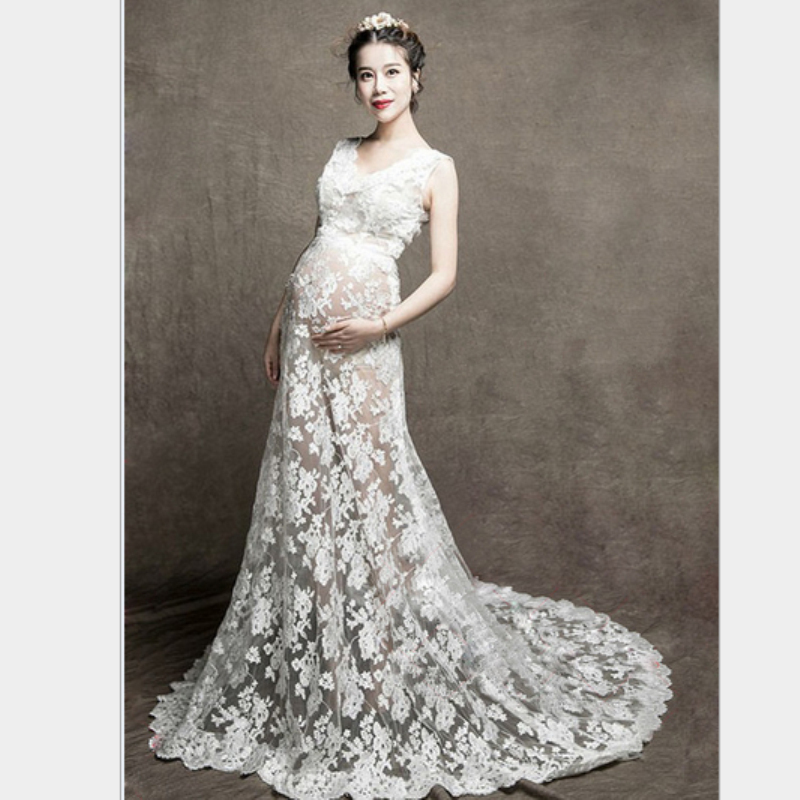 2016  Maternity Photography Props Pregnant Women White Lace Dresses Pregnancy Photo Shoot Sleeveless  Flower Dress M662 недорого