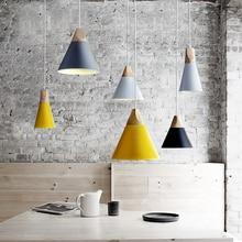 Pendant Lights Dining Room Pendant Lamps Modern Colorful Restaurant Coffee Bedroom Lighting Iron+Solid Wood E27 Holder
