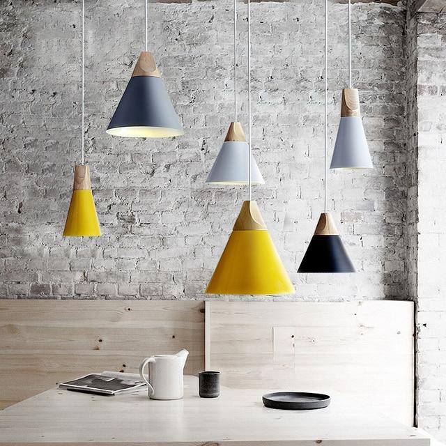 Pendelleuchten Esszimmer Pendelleuchten Moderne Bunte Restaurant Kaffee Schlafzimmer Beleuchtung Eisen + Massivholz E27 Halter