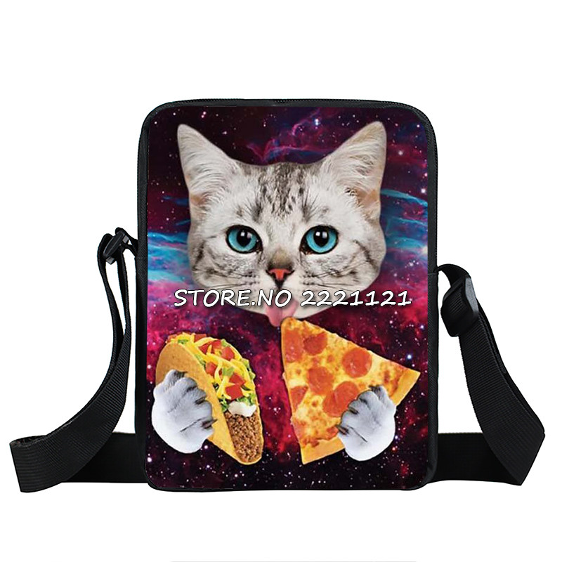 Cute Kitten Mini Messenger Bag Cat Eating Tacos Pizza Crossbody Bag Women Handbags Child ...