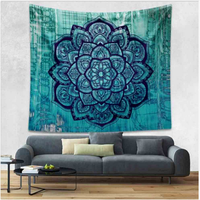 iDouillet Ombre Mandala Bohemian Tapestries Modal Bomull Hippie Boho Mandala Tapestry för Wall Decor Yoga Mat Beach Wrap Throw