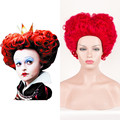 Short Curly Red Cosplay Full Wig Ladies Cosplay Wig Alice in Wonderland Queen of Hearts/The Red Queen Iracebeth Free Shipping