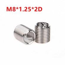 100pcs M8*1.25*2D Wire Thread Insert, m8x2D screw sleeve, M8 Screw Bushing Helicoil Repair Inserts SUS304