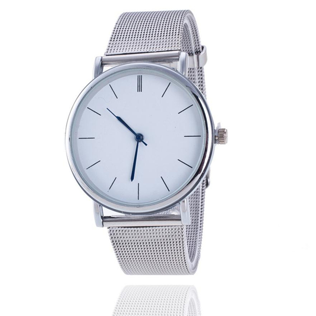 2018 New Fashion Unisex Women Ladies Silver Stainless Steel Mesh Band Silver Wri