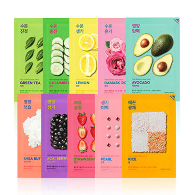 (3 Pack) HOLIKA HOLIKA Pure Essence Mask Sheet - Avocado Luma Belle- Vitamin C- Anti-Aging Serum -Delay The Visible Signs Of Aging Premature Aging- For All Skin Types