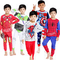 Hot Baby Kids Boys Cartoon Super Heroes Costume Pajamas Children Iron Long sleeve Pjs  Jammies Sleepwear  Suit  2Pcs Set Outfits