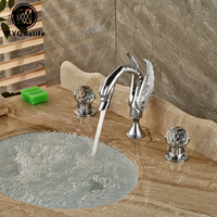 Bright Chrome Widespread Swan Shape Basin Sink Faucet Dual Cristal Handles Bathroom Mixers Hot Cold Water Taps