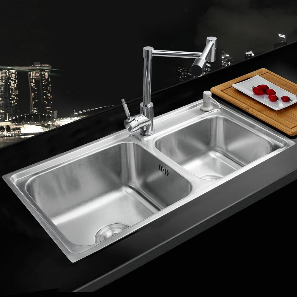 Modern Home Luxury Kitchen Stainless Steel Sink Vessel Double Bowl Brass Swivel Chrome Polished Undermounted Basin