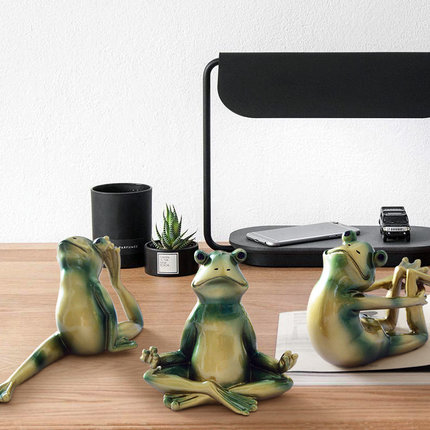 Modern Fashion Creative Yoga Resin Frog Prince Yoga Frogs 6pcs for The Home Decoration Training Room Ornaments Frog Combination